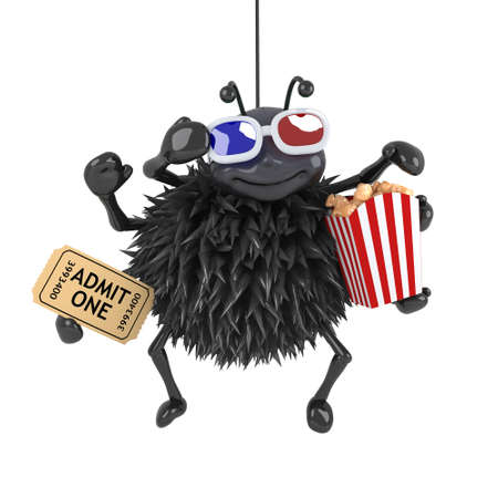 monster movie: 3d render of a spider eating popcorn whilst watching a 3d movie Stock Photo