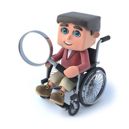 paraplegic: 3d rinden de un ni�o en una silla de ruedas que sostiene una lupa.