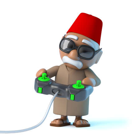 3d render of a Moroccan playing a videogame photo