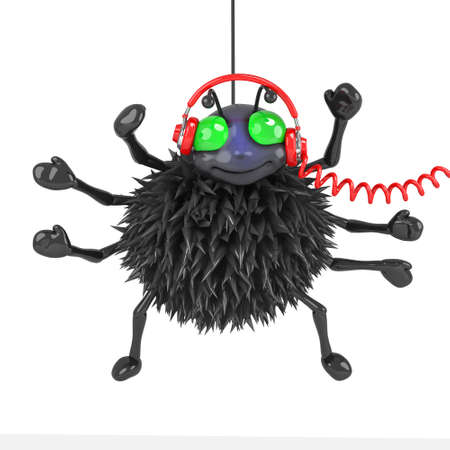 crawly: 3d Spider wearing headphones