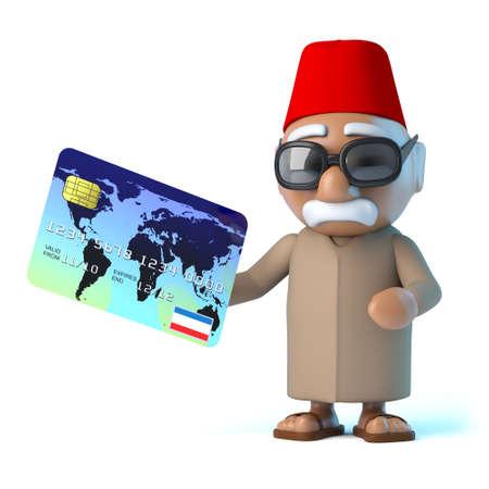 debit card: 3d render of a Moroccan holding a debit card Stock Photo