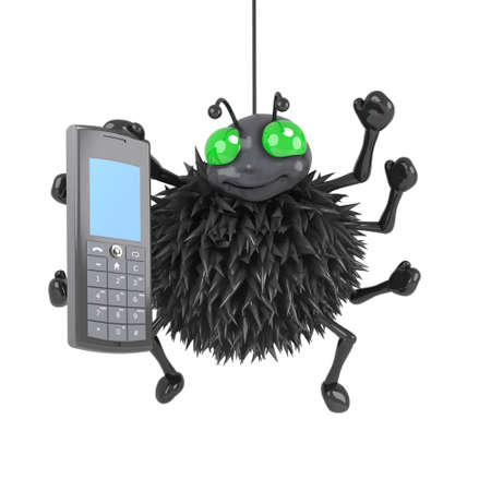 crawly: 3d render of a spider using a mobile phone