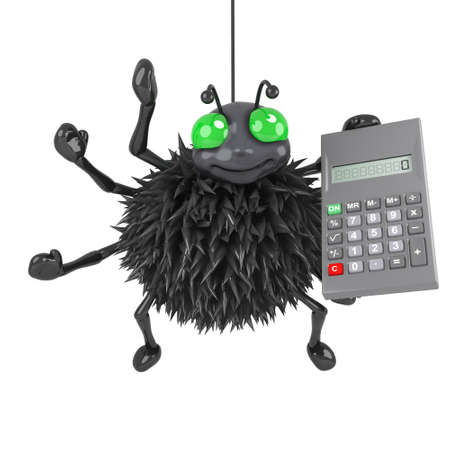 crawly: 3d render of a spider holding a calculator Stock Photo