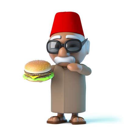 beefburger: 3d render of a Moroccan eating a beefburger