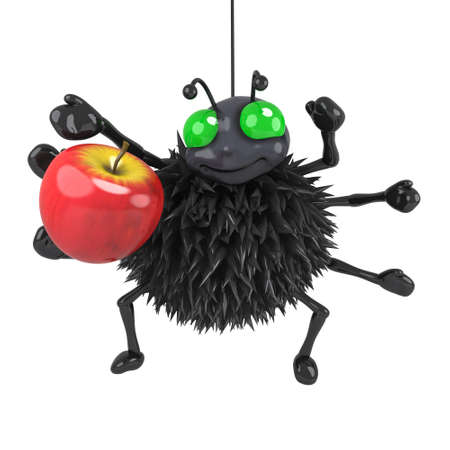 crawly: 3d render of a spider holding an apple Stock Photo