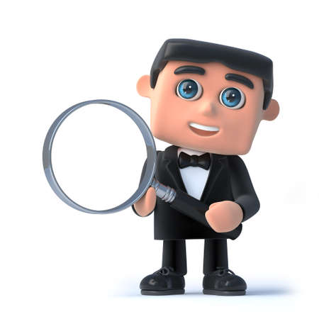 debonair: 3d render of a man in a tuxedo and bow tie holding a magnifying glass