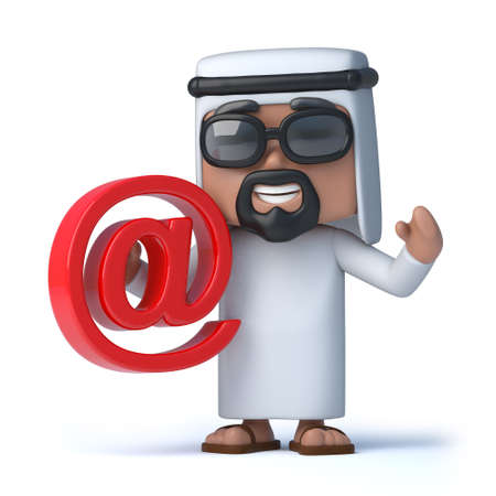 sheik: 3d render of an Arab sheik holding an email address symbol