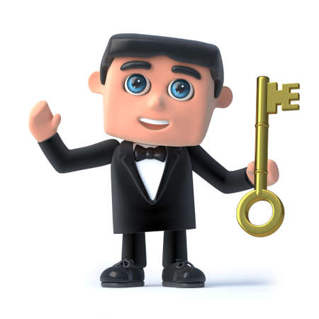 gold key: 3d render of a man in a tuxedo and bow tie holding a gold key Stock Photo