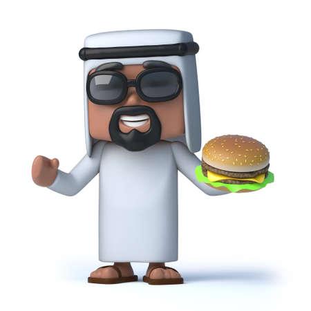 sheik: 3d render of an Arab holding a beefburger