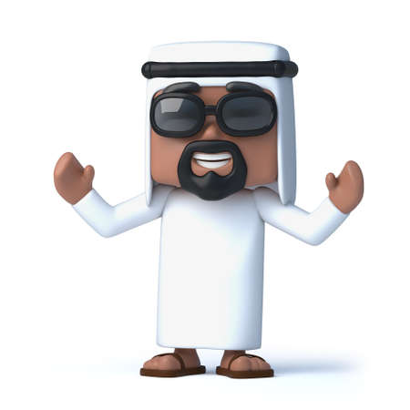 hands in the air: 3d render of an Arab with his hands in the air cheering
