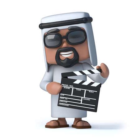 sheik: 3d render of an Arab holding a clapperboard