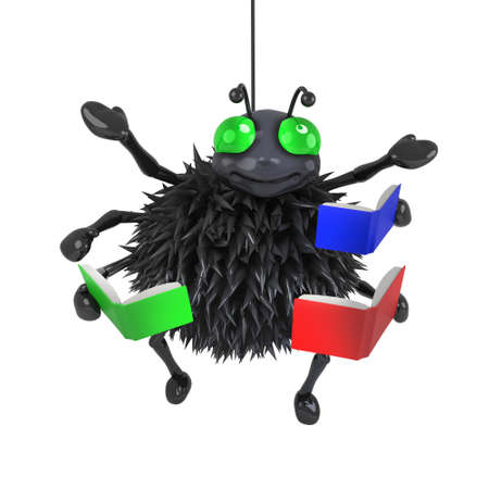 creepy crawly: 3d render of a spider reading books