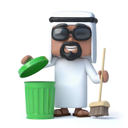 sheik: 3d render of an Arab with a broom and green trash can.