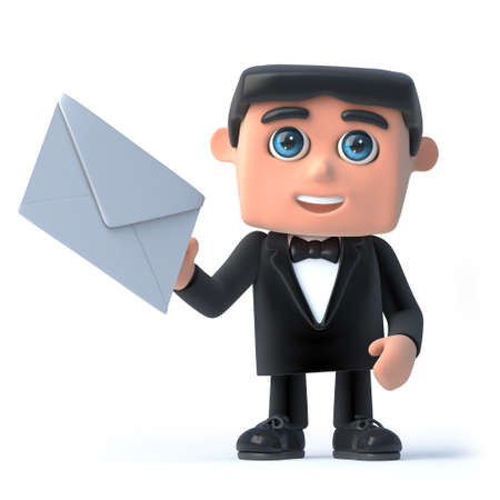 debonair: 3d render of a man in a tuxedo and bow tie holding an envelope