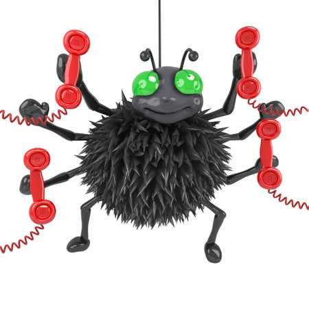 dangle: 3d Spider answers the phones