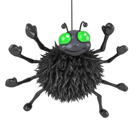 creepy crawly: 3d render of a spider hanging by a thread