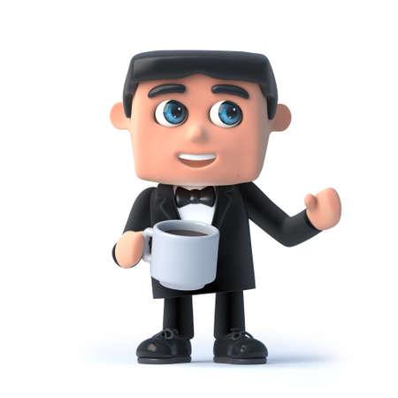debonair: 3d Bow tie spy has a cup of tea