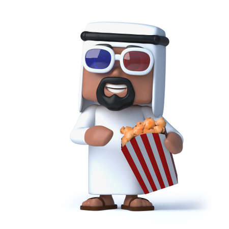 sheik: 3d render of an Arab wearing 3d glasses and eating popcorn