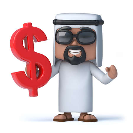 sheik: 3d render of an Arab sheik holding a US dollar symbol