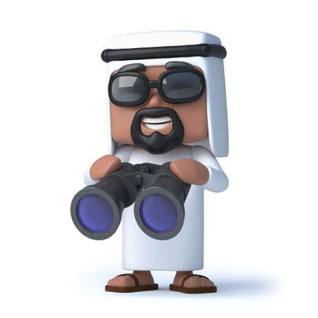 sheik: 3d Arab has a pair of binoculars
