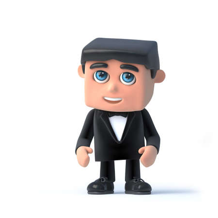 3d render of a man wearing a tuxedo and bow tie looking nervous