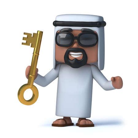 sheik: 3d render of an Arab holding a gold key Stock Photo