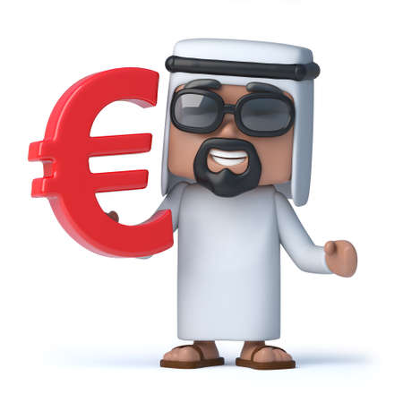 sheik: 3d Arab holds Euro currency symbol