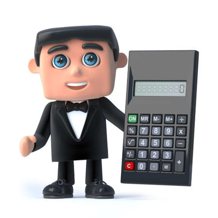 debonair: 3d render of a man wearing a tuxedo and bow tie holding a calculator