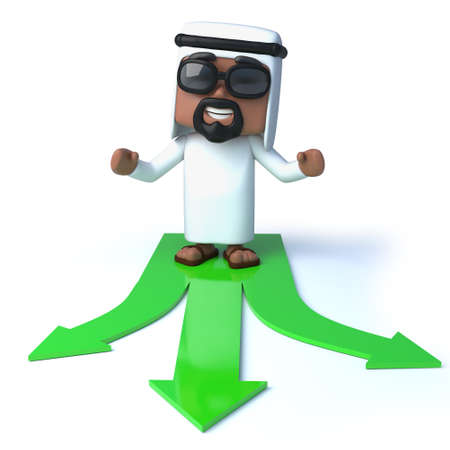 sheik: 3d Arab makes a choice Stock Photo