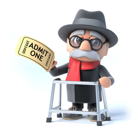 admission: 3d render of an old man with a walking frame holding an admission ticket