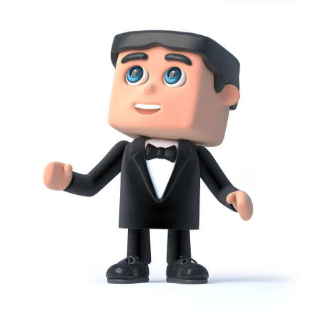 debonair: 3d render of a man wearing a tuxedo and bow tie and looking up.