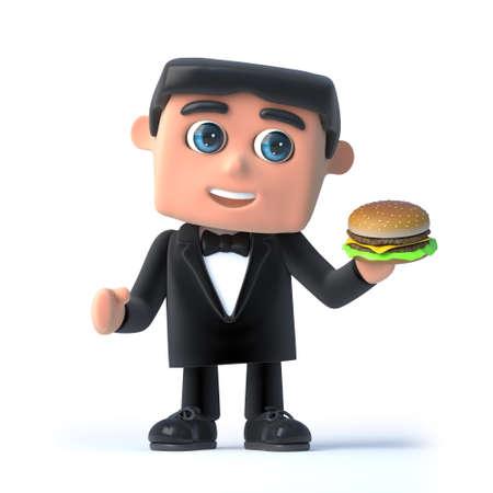 debonair: 3d Bow tie spy has a beefburger