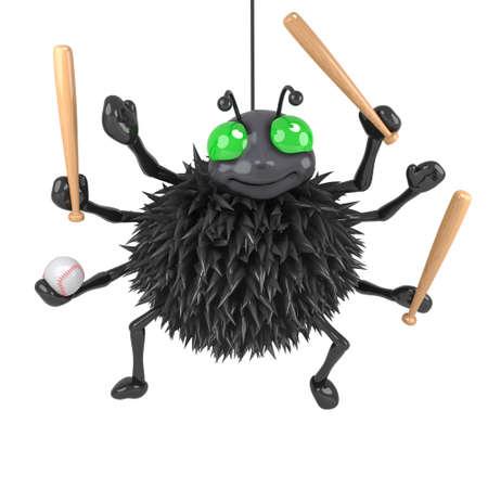 halloween spider: 3d Halloween spider plays baseball