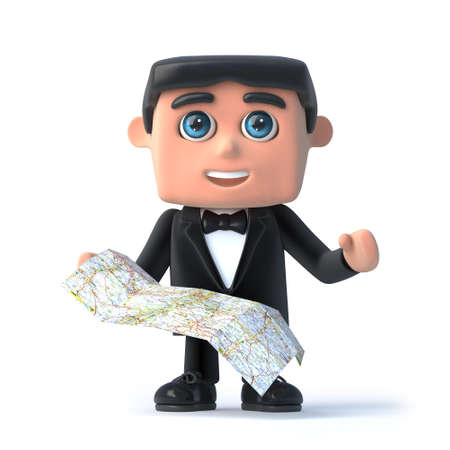 debonair: 3d render of a man in a tuxedo and bow tie holding a map Stock Photo
