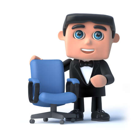 debonair: 3d render of a man in a tuxedo and bow tie standing next to an empty office chair