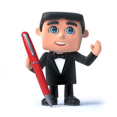 debonair: 3d render of a man in a tuxedo and bow tie holding a red pen