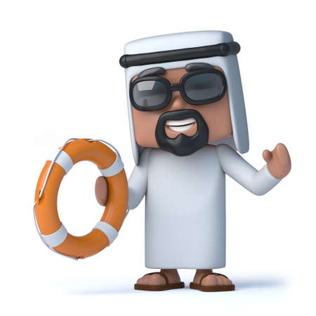 sheik: 3d render of an Arab holding a life ring Stock Photo