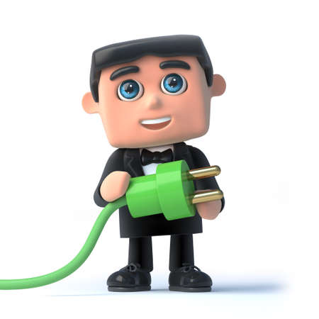 debonair: 3d render of a man in a tuxedo and bow tie holding a green power lead Stock Photo