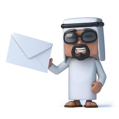 arabische letters: 3D render van een Arabier die een envelop Stockfoto