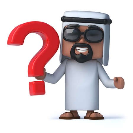 sheik: 3d render of an Arab holding a question mark symbol