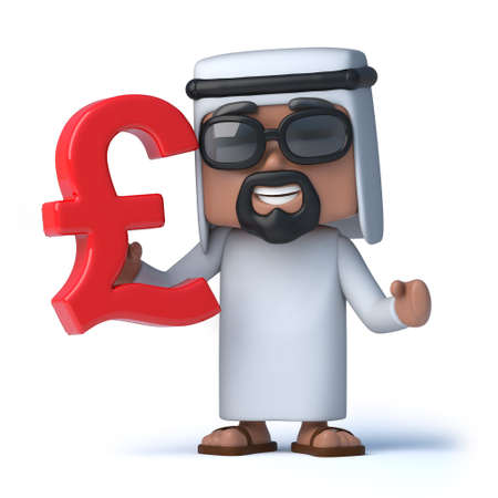 sheik: 3d render of an Arab holding a UK Pounds Sterling currency symbol Stock Photo
