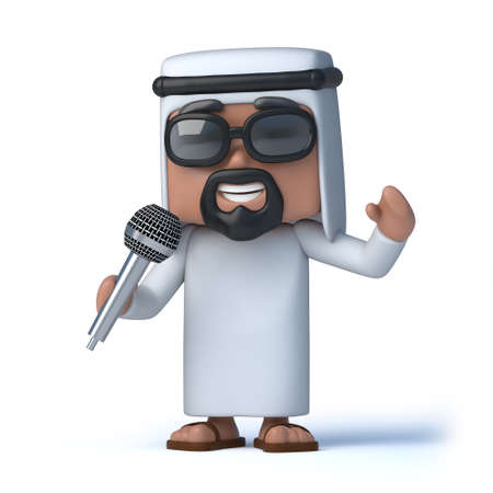 sheik: 3d render of an Arab with a microphone