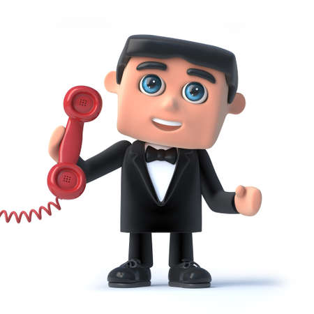 debonair: 3d render of a man in a tuxedo and bow tie holding a red telephone receiver Stock Photo