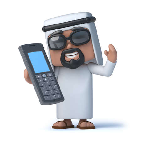 sheik: 3d Arab with a cellphone Stock Photo