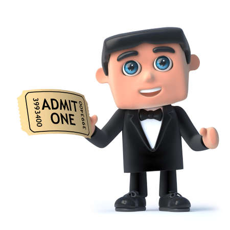 debonair: 3d render of a man in a tuxedo and bow tie holding a cinema ticket