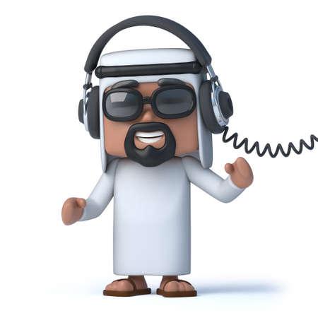 sheik: 3d Arab is listening on headphones