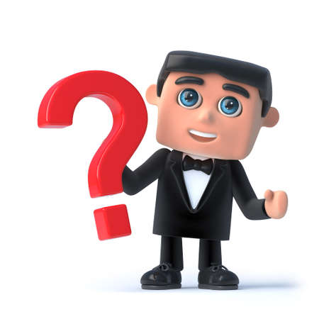 debonair: 3d render of a man wearing a tuxedo and bow tie and holding a question mark symbol