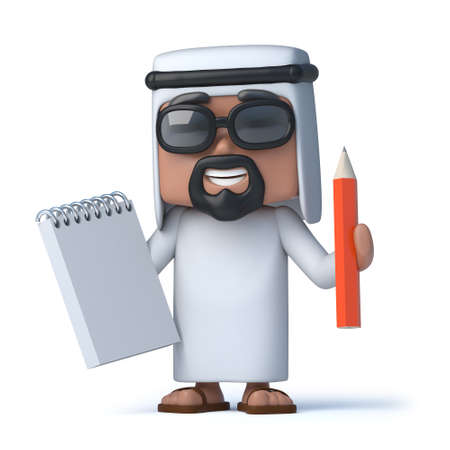 sheik: 3d Arab takes notes