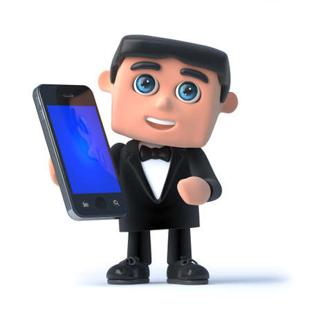 debonair: 3d render of a man in a tuxedo and bow tie holding a smartphone Stock Photo