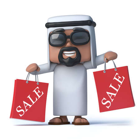 sheik: 3d render of an Arab holding some red shopping bags Stock Photo